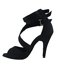 Women's Latin Fabric Heels Performance Stiletto Heel Ruby Black