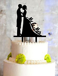 cheap -Cake Topper Classic Couple Plastic with 1 PVC Bag