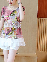 Women's Casual/Daily Simple Blouse,Print Color Block Round Neck Short Sleeves Cotton Polyester