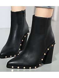 Damen Schuhe Echtes Leder PU Herbst Winter Pumps Stiefel Für Normal Schwarz