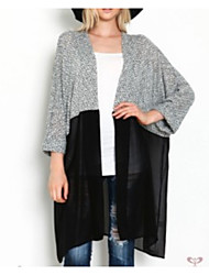 Women's Casual/Daily Long Cardigan,Solid V Neck Long Sleeves Polyester Spring Thin Stretchy