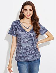 billige -V-hals Dame - camouflage Kryds Gade Ferie / I-byen-tøj T-shirt / Sommer