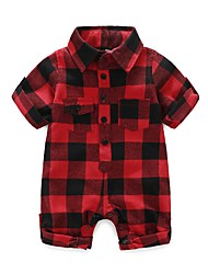 cheap -Baby Boys' Plaid/Check Fashion One-Pieces, 100% Cotton Autumn/Fall Spring Check Short Sleeves Red