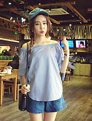 Women's Casual/Daily Simple Shirt,Striped Boat Neck Long Sleeves Cotton Others
