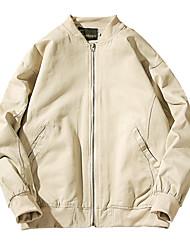 Men's Plus Size Casual Slim Patch Design 100% Cotton Jacket
