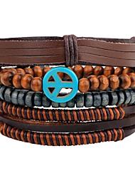 billige -Herre Strand Armbånd Wrap Armbånd Læder Armbånd - Læder Personaliseret, Vintage Armbånd Brun Til Daglig Afslappet Gade