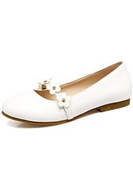 Women's Flats Light Soles Comfort Flower Girl Shoes Spring Fall Leatherette Wedding Office & Career Dress Rivet Flower Flat Heel White