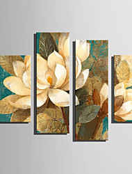 E-HOME Stretched Canvas Art Beautiful Jasmine Decoration Painting Set Of 4