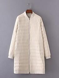 Damen Daunen Mantel,Lang Einfach Niedlich Street Schick Ausgehen Lässig/Alltäglich Solide-Kaschmir Weiße Entendaunen Langarm