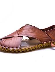Herren Sandalen Komfort Sommer Echtes Leder Leder Wasser-Schuhe Normal Flacher Absatz Schwarz Braun Flach