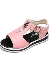 Girls' Sandals Comfort Summer PU Walking Shoes Casual Magic Tape Low Heel White Black Blushing Pink Flat