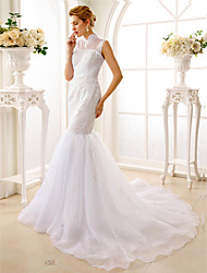 Mermaid / Trumpet High Neck Court Train Lace Organza Wedding Dress with Beading Appliques by LAN TING BRIDE®