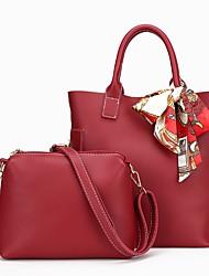 Mujer Bolsos Todas las Temporadas PU Conjuntos de Bolsa 2 piezas de monedero conjunto para Casual Negro Rojo Gris Marrón