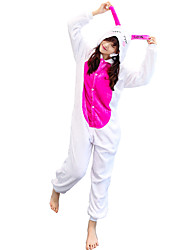 cheap -Adults' Kigurumi Pajamas Rabbit Bunny Onesie Pajamas Flannelette White Cosplay For Animal Sleepwear Cartoon Halloween Festival / Holiday / Christmas