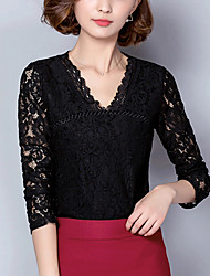 Women's Going out Street chic Spring Fall Fashion Slim Lace Blouse Embroidery Cut Out Round Neck Long Sleeve Medium