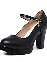 cheap -Women's Heels Basic Pump Spring Fall Real Leather Party & Evening Dress Rhinestone Buckle Platform Black 4in-4 3/4in