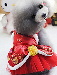 cheap -Dog Dress Dog Clothes Warm Wedding New Year's Embroidered Purple Red Costume For Pets