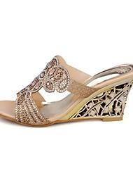 Damen Schuhe PU Sommer Komfort Sandalen Keilabsatz Offene Spitze Für Normal Gold Grün