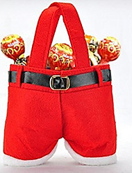 cheap -1Pcs Christmas Candy Bag Red Santa Claus Pants Christmas Tree Decorations Jewelry Gift Bag