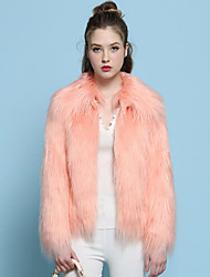 Women's Plus Size Going out Simple Fall Winter Fur Coat,Solid Shirt Collar Long Sleeve Regular Faux Fur