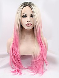 cheap -Synthetic Lace Front Wig Straight Natural Hairline Pink Blonde Black Lace Front Cosplay Wig Long Synthetic Hair