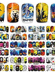 48 Sheets Halloween Nail Stickers Skull Pumpkin Bat Gel Tips 3D Water Transfer Decals