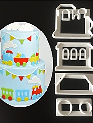 4 Pcs/set DIY Train Cake Mold Decorating Baking Tools Stencil Stamp Fondant Cake Mold Train Cookie Cutter Print Plunger