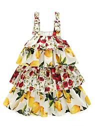 Недорогие -Девичий Платье Хлопок Цветочный принт Весна Лето Без рукавов С цветами Желтый