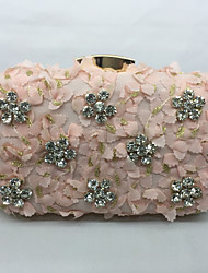 Women Bags All Seasons Metal Evening Bag Rhinestone for Event/Party White Black Almond Blushing Pink