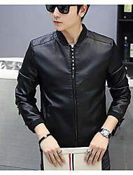 cheap -Men's Daily Simple Casual Spring Fall Leather Jacket,Solid Shirt Collar Long Sleeve Regular Cowhide