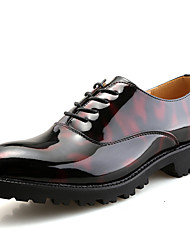cheap -Men's Shoes Patent Leather Spring / Fall Formal Shoes Oxfords Black / Red / Party & Evening / Printed Oxfords
