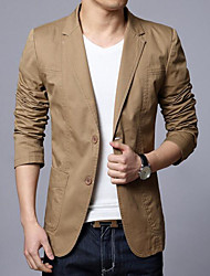 Men's Casual/Daily Simple Spring Fall Blazer,Solid Shawl Lapel Long Sleeve Regular Cotton