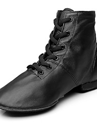 Women's Jazz Real Leather Boots Performance Flat Heel Black