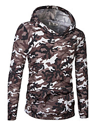 Men's Sports Going out Casual/Daily Simple Active Hoodie Print Cut Out Hooded Micro-elastic Cotton Long Sleeve Spring Fall
