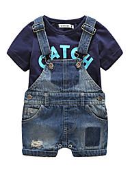 Boys' Others Clothing Set,Cotton Summer Short Sleeve Black