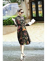 Feminino Solto Vestido,Casual Temática Asiática Floral Colarinho Chinês Médio Manga Longa Raiom Outros Primavera Verão Cintura Média