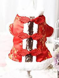 Недорогие -Собака Костюмы Одежда для собак Дышащий Косплей Новый год Вышивка Красный Синий Костюм Для домашних животных