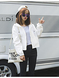 Women's Casual/Daily Simple Fall Jacket,Solid Letter Hooded Long Sleeve Short Cotton