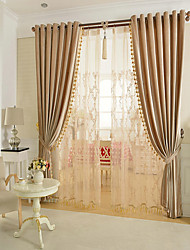 cheap -Rod Pocket Grommet Top Double Pleat Pencil Pleat Curtain Glam , Yarn Dyed Solid Living Room Material Blackout Curtains Drapes Home