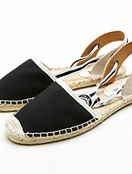 cheap -Women's Shoes Cotton Canvas Spring Summer Light Soles Espadrilles D'Orsay & Two-Piece Sandals Flat Heel Round Toe Hollow-out Lace-up for