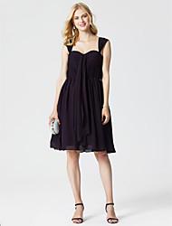 preiswerte -A-Linie Riemen Knie-Länge Chiffon Cocktailparty / Abiball Kleid mit Drapiert Gerafft durch TS Couture®