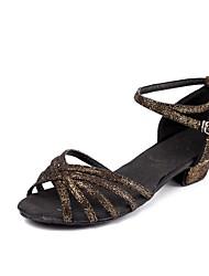 Kids' Kids' Dance Shoes Sparkling Glitter Nubuck leather Patent Leather Sandals Heels Training Buckle Sparkling Glitter Low Heel