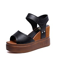 cheap -Women's Shoes PU(Polyurethane) Fall Comfort Sandals Wedge Heel Round Toe Hook & Loop White / Black / Wedge Heels