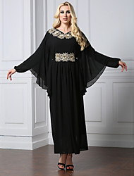 Women's Party Holiday Casual/Daily Simple Vintage Cute Abaya Dress,Solid Round Neck Full-Length Long Sleeves Polyester Fall Winter High