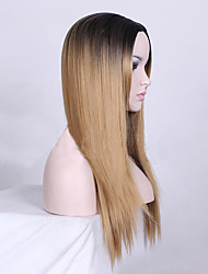 Ombre Dark Blonde Color  Middle Part Long Straight Hair European Synthetic Wig For Women Wig