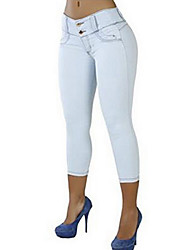 Women's Mid Rise Micro-elastic Skinny Jeans Pants,Sexy Solid Summer