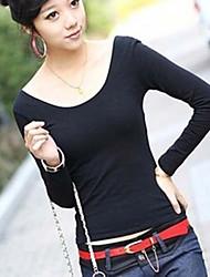 Damen Solide Einfach Niedlich Ausgehen Lässig/Alltäglich T-shirt,U-Ausschnitt Frühling Herbst Langarm Polyester Undurchsichtig Dünn
