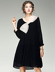 Women's Casual/Daily Going out Street chic Shift Dress,Solid Halter Above Knee Long Sleeves Polyester Spandex Summer Fall Mid Rise