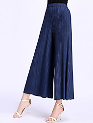8CFAMILY Women's Mid Rise Stretchy Wide Leg PantsStreet chic Simple Wide Leg Solid