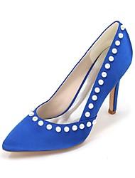 Women's Wedding Shoes Basic Pump Satin Spring Summer Wedding Party & Evening Imitation Pearl Stiletto HeelIvory Champagne Blue Ruby